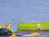 Gregory Fishing for the Sperm-Whale with the Golden Heart, ca. 1968, Pastell, Blei- und Buntstift auf Papier, 23 x 43 cm