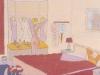 Mittleres Schlafzimmer aus dem Jahre 1965, Ölkreide auf Büttenpapier, 39,5 x 29,5 cm