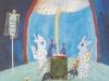 Zeremonie für den toten Schweinepriester Charles den Großen, 1983, 80x 60 cm, Tempera-Mischtechnik a. Karton