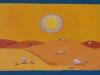 Weitersagen: Die Wüste lebt, 1966, Ölkreide auf Büttenpapier, 26 x 39 cm