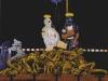 """Wenn die bunten Fahnen weh'n. Der Moonlight-Arier-Express: """"Festung Europa"""", 1991, Acryl auf Leinwand, 150 x 110 cm"""