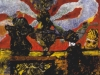 Brennende Kutten machen viel Qualm um nichts, 1993, Acryl auf Leinwand, 40 x 50 cm