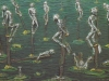 Draußen stehen welche verdammt sauer im Regen, 1986, 100 x 150 cm, Relief, Acryl, verschiedene Materialien
