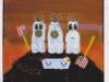 Die Be-Erdigung, 1990, Acryl auf Glas, 120 x 110 cm