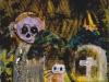 Großes nächtliches Wiedererstärken der Vogelscheuchen im Knoblauchsland, 1988, Acryl und Tempera auf Karton, 70 x 58 cm