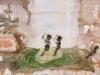 Jim, Jonny und Jonas reiten den Leviathan zu., 1986, 30 x 40 cm, Tempera a. Karton