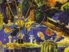 """Der Orpheus singt sein Lied nach der Rückkehr aus der Unterwelt: """"Der verregnete Sommer"""", 1987, Öl auf Leinwand, 150 x 150 cm"""