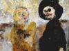 Blalla W. Hallmann und Klaus Theuerkauf, Ein Gespräch unter Freunden, 1997, Acryl auf Karton, 32,5 x 40 cm