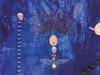 Das Hohelied auf die Kaisergoldfliege (Calliphoridae) Schmeißfliege, 1996, Acryl auf Leinwand, 150 x 110 cm