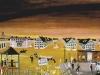 Erinnerung an Vergangenheit, Gegenwart und Zukunft und die Bourgeosie feiert ihre Operetten. Dali würde sagen im surrealistischen Stil. 1981, 97 x 151 cm, Tempera auf Preßspan