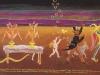 """""""Künstliche Befruchtung aus der Kaltschale mit Eis am Stiel? Die römisch-katatonische Herausforderung? Nur über meine Leiche!"""" sagte Prof. Dr. med. Sepsis. Das hat er nun davon. Und das alles in einer illustren Gesellschaft am nächtlichen indischen Ozean. (Dopppelter Rittberger mit Gott Amor und zwei Heiligen der ersten Kategorie), Tempera, Mischtechnik a. Preßspan, 1981, 87 x 142 cm"""