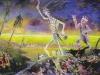 Dreht euch nicht um, der Horla geht um oder: Ritter, Tod und Teufel sind los., 1983, Öl auf Malkarton, 150 x 250 cm
