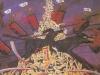 Der Krieg als kollektive Höllenfahrt. Das Blut der umgebrachten Unschuldigen wird auf die Erde zurückkommen, 1982, 132 x 230 cm, Öl a. Leinen