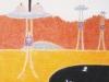 Letzte Ölung in der Wüste, 1989, Ölkreide, Buntstift auf Papier, 38 x 28 cm