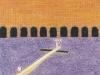 Der Zug zur Freiheit, 1989, Ölkreide, Buntstift auf Papier, 38 x 28 cm