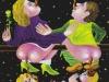 """""""Wie die Alten sungen, so zwitschern auch die Jungen."""" (Familien-Bande Laokoon) Im schlichten """"japanisch""""-Freistil gehalten. Einfach, aber ergreifend., 1981, Tempera und Mischtechnik auf Hartfaser, 109 x 78 cm"""