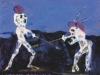 Der Geist des Matadors kämpft mit dem Geist des Stieres., 1982, Tempera auf Papier, 26 x 32 cm