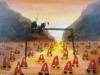 Einzug der heiligen Inquisition, der Hüter der reinen Lehre unter Papst Paul dem Einzigen mit seiner Konkubine Prinzessin von und zu Dollar. (Stützen des Systems), 1982, Tempera und Mischtechnik auf Hartfaser, 97 x 132 cm